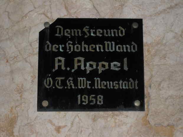 Dem Freund der Hohen Wand A.Appel Ö.T.K.Wr.Neustadt 1958