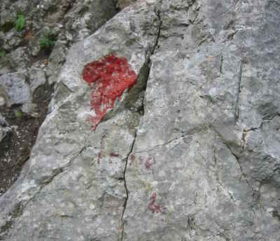 Aufschrift am Fels