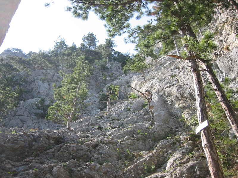 Einstiegstafel und Steinschlagrinne